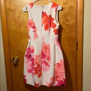 Floral and white Calvin Klein tank top dress
